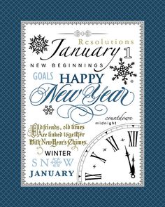January Subway Art. New Year's Printable. by ScrapbookCustoms1, $1.00