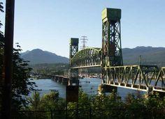 Second Narrows vertical lift railroad Bridge over Burrard Inlet, Vancouver, Canada