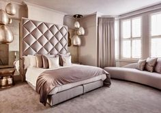 While glittering living rooms and blinding entryways are often the rule, Luxury Master Bedroom interior design is more restrained. Apartment Master Bedroom, Master Bedroom Design, Home Bedroom, Bedroom Decor, Bedroom Ideas, Bedroom Red, Master Bedrooms, Bedroom Designs, Master Suite