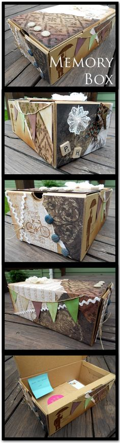 Transform and old box into a place to stash keepsakes (ticket stubs, announcements, fliers, pics, etc. ).