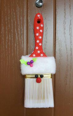Cute Santa ornament paint brush Christmas ornament Christmas
