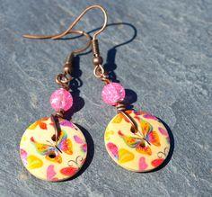 Boucles pour oreilles percées couleur cuivre boutons bois multicolore - Bijoux fantaisie TessNess : Boucles d'oreille par tessness