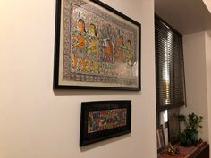 This pic is part of Anuradha Singh's Home Tour at Noida on The Keybunch decor blog - Wall hanging Madhubani paintings Old Antiques, Antique Shops, London Map, Madhubani Painting, Blue Pottery, Travel Souvenirs, Indian Home Decor, My Furniture, Victoria And Albert Museum