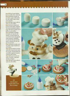 MIS REVISTAS PARA REPOSTERIA: LETICIA SUAREZ DEL CERRO (2013-Nº4) Fondant Figures, Fondant Cakes, Fondant Tutorial, Kitchen Themes, Pasta Flexible, Salt Dough, Gum Paste, Polymer Clay, Diy And Crafts