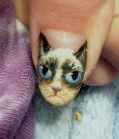 "Tardar the grumpy cat manicure! At first I thought ""Gee that's sort of tacky."" Then it started growing on me and being a grumpy old hag myself, I sort of like it now. Cat Nail Art, Cat Nails, Nailart, Grumpy Cat Humor, Cat Memes, Crazy Cat Lady, Crazy Cats, Manicure E Pedicure, Fancy Nails"