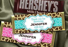 12 Hershey Candy Bar Wrappers, Baby Shower, Bridal Shower, Bachelorette Party, Birthday, Cheetah Print, Pink, Blue on Etsy, $9.95