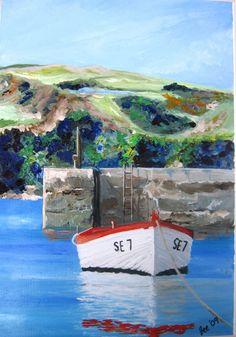 Fishing Boat at Hope Cove Devon England UK Original by DottyPaint, South Devon, Devon England, Dartmouth, Art For Art Sake, Beach Scenes, Fishing Boats, Seaside, Countryside, Scenery