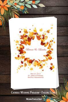 Catholic Wedding Program, DIY Church Order of Service Printable Template.
