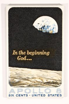 1969 Apollo 8 In the Beginning God... US Postage Stamp Enlarged on Canvas. $39.00, via Etsy.