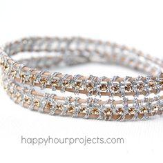 Rhinestone Wrap Bracelet {uses pretty elements, leather, rhinestone chain, and metallic thread}