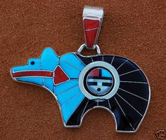 Don Dewa-Zuni Bear Pendant with Spinner