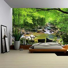 Fall Forest Stream Smolny in Russian Primorye Reserve Removable Wall Mural Selfadhesive Large Wallpaper inches *** You can get additional details at the image link. (This is an affiliate link) Large Wall Murals, Removable Wall Murals, Mural Wall, Wall Decals, Photo Wallpaper, Wall Wallpaper, Forest Mural, Forest Art, Deep Forest