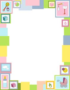 A baby-themed border with stork, stroller, and other related graphics in pastel colors. Free downloads at http://pageborders.org/download/baby-border/