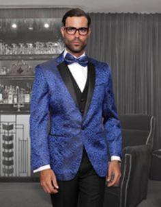 #xmas #Christmas #MensUSA - #MensUSA Floral 1 Button Sharkskin Paisley Tuxedo Dinner Jacket Blazer + Black Vest & Pants ( Mens Suit) With Black Trimed Notch Collar Royal - AdoreWe.com