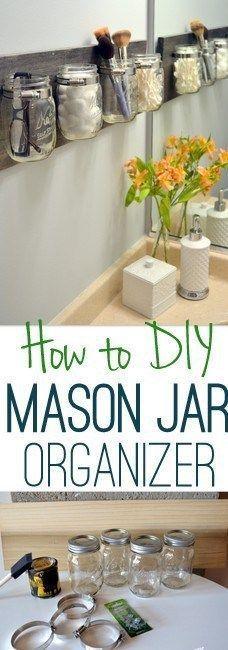 DIY Tips for an Organized Bathroom - Do it Yourself Pretty wall mounted hanging Mason Jar and Pallet Organizer Tutorial via DIY Playbook