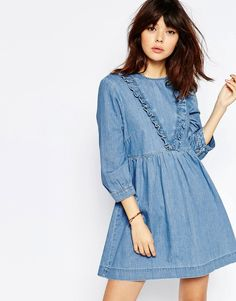 Image 1 of ASOS Denim Smock Dress with Ruffle Detail in Mid Blue