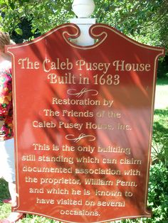 Caleb Pusey was sent ahead to build a saw and grist mill in Chester, now Delaware County.