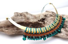 Brass and Macrame Necklace