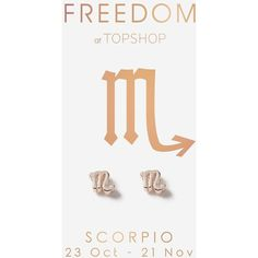 TopShop Scorpio Symbol Stud Earrings ($9) ❤ liked on Polyvore featuring jewelry, earrings, rose gold, topshop earrings, topshop jewelry, birthday jewelry and stud earrings