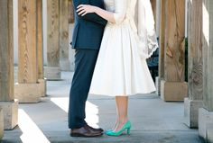 teal wedding shoes - photo by Tiffany Hughes Photography https://ruffledblog.com/1950s-inspired-auburn-wedding