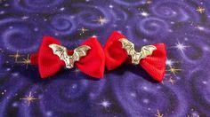 Red Mini Bat Hair Bows by Th1rte3nsCloset on Etsy, $6.00