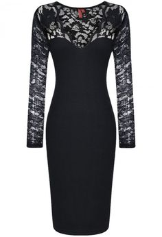 V Neck Lace Bodycon Black Dress