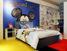 Mickey Mouse Disney bedroom, my future child's bedroom. Disney Themed Rooms, Disney Bedrooms, Big Boy Bedrooms, Kids Bedroom, Casa Disney, Disney Home, Disney Mickey, Decoration Inspiration, Room Inspiration