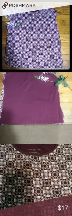 Ann Taylor Loft Purple Shirt FLASH SALE This is beautiful print sleeveless shirt made by Ann Taylor Loft.   This shirt is in excellent condition and has a solid purple color on the back. Ann Taylor Factory Tops Tees - Short Sleeve