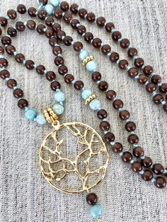 Brown mala necklace brown jade mala necklace aquamarine fossil mala necklace tree of life mala necklace yoga mala meditation necklace by Katiaicrafts on Etsy