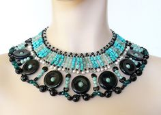 Choker in Pucci's style black onyx and green by colliermarguerite, $810.00