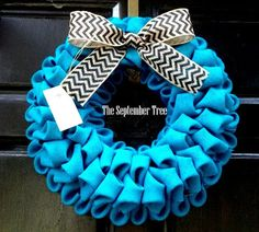 Hey, I found this really awesome Etsy listing at https://www.etsy.com/listing/160898374/burlap-bubble-wreath-in-turquise-blue-19