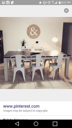 Love The Wood Table With Metal Chairs