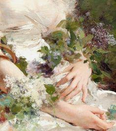 "c0llar-bones: ""Young Girl with a Basket of Flowers (Detail) - Renoir "" Renaissance Paintings, Renaissance Art, Aesthetic Painting, Aesthetic Art, Old Paintings, Classic Paintings, Jolie Photo, Classical Art, Old Art"