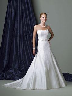 Silk Like Satin Softly Curved Neckline Low Dipped Back Bodice A-line Wedding Dress