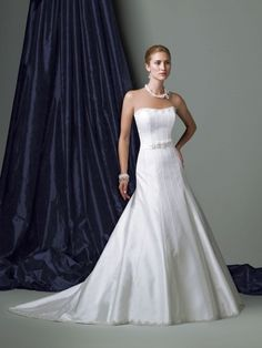 Silk Like Satin Softly Curved Neckline Low Dipped Back Bodice A-line Wedding Dress