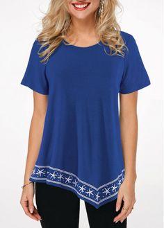 Short Sleeve Asymmetric Hem Star Print T Shirt Trendy Tops For Women, T Shirts For Women, Star Clothing, Star Wars, Star Print, Ladies Dress Design, Tunic Tops, Fashion Outfits, Women's Fashion