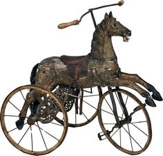 *HORSE PEDAL TRICYCLE ~ Early Child's Wooden