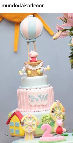 Peppa Pig Baby Birthday Cakes, Pig Birthday, Fondant Cakes, Cupcake Cakes, Tortas Peppa Pig, Hot Air Balloon Cake, Girl Cakes, Cake Tutorial, Pretty Cakes