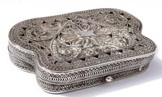 STUNNING ANTIQUE SOLID SILVER FILIGREE PURSE C1890