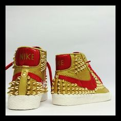 42d28e1458b8 The Gold spiked Blazers with Red accents are a winner! Red Accents