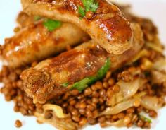 French in a flash... One Pot Sausages and Lentils with Sweet Roasted Shallots
