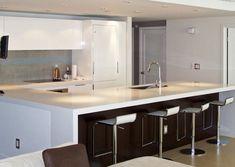 Kitchen amazing modern white counter stools design ideas with modern white Kitchen Stools, Kitchen Cabinetry, Kitchen Island, White Counter Stools, Restaurant Bar Stools, Modern Farmhouse Kitchens, Kitchen Modern, Mason Jars, New Kitchen Designs