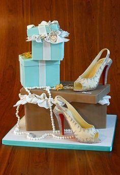 Amazing Tiffany box cake and Christian Louboutin Shoe Cake for wedding or bridal shower