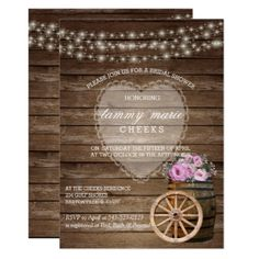 Rustic Wood Barrel Wedding and Pink Flowers Card - flowers floral flower design unique style