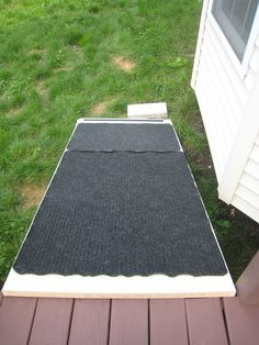 Dog ramp from repurposed scratched up door ($5 from Lowe's) and stapled on floor mats.  Great for after the dog's knee surgery to get down the 2 steps on the deck.  The pet store wanted 150$ for a fancy ramp!