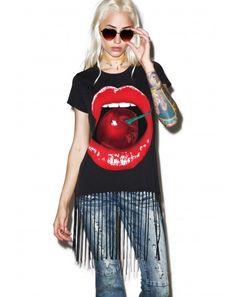 #DollsKill #lookbook #photoshoot #model #LaurenMoshi Sage #shortsleeve #fringe #tee #black #mouth #lips #cherry