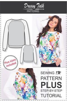 Join the mailing list and get 10% off on all new patterns! Copy and paste the link to subscribe - http://bit.ly/DT-Special-Offers  -----------------------------------------------------------------------------  PRODUCT DESCRIPTION:  PDF sweatshirt sewing pattern with a raglan long sleeve and round neckline is a great and simple sewing project!  The sweatshirt pattern comes with a size chart, fabrics requirements and yardage, printing guide, cutting instruction, and step-by-step ...