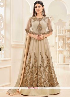This online shop has a great selection of bollywood replica salwar kameez. Grab this Mouni Roy beige floor length anarkali salwar suit for festival, party and wedding. Indian Anarkali Dresses, Saree Dress, Anarkali Suits, Anarkali Lehenga, Long Anarkali, Abaya Fashion, Fashion Dresses, Indian Fashion, Women's Fashion