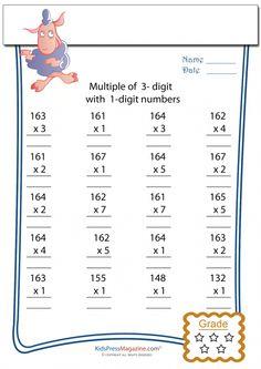 math worksheet : multiplication worksheets math worksheets and multiplication on  : 3 Digit Multiplication Worksheet