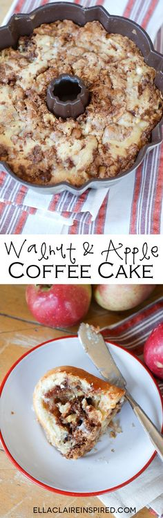 Walnut and Apple Coffee Cake~ A delicious Fall variation of this classic breakfast cake that is sure to become a family favorite by Ella Claire.